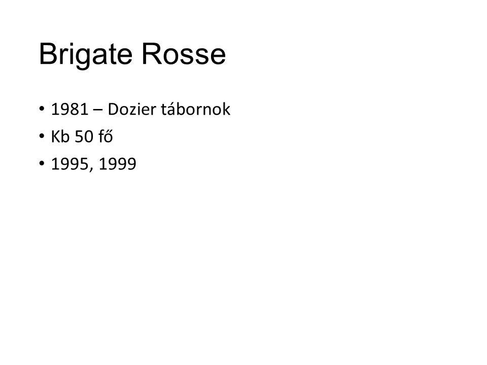 Brigate Rosse 1981 – Dozier tábornok Kb 50 fő 1995, 1999