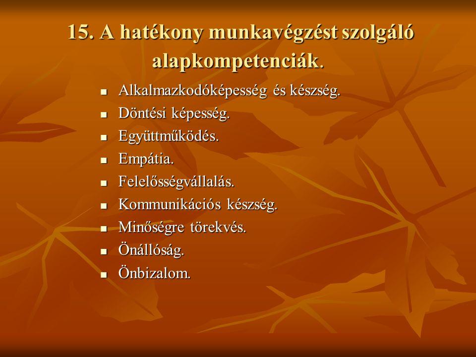 15. A hatékony munkavégzést szolgáló alapkompetenciák.