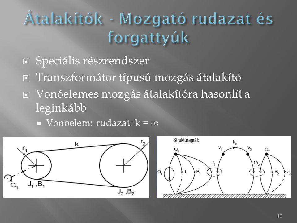10  Speciális részrendszer  Transzformátor típusú mozgás átalakító  Vonóelemes mozgás átalakítóra hasonlít a leginkább  Vonóelem: rudazat: k = ∞