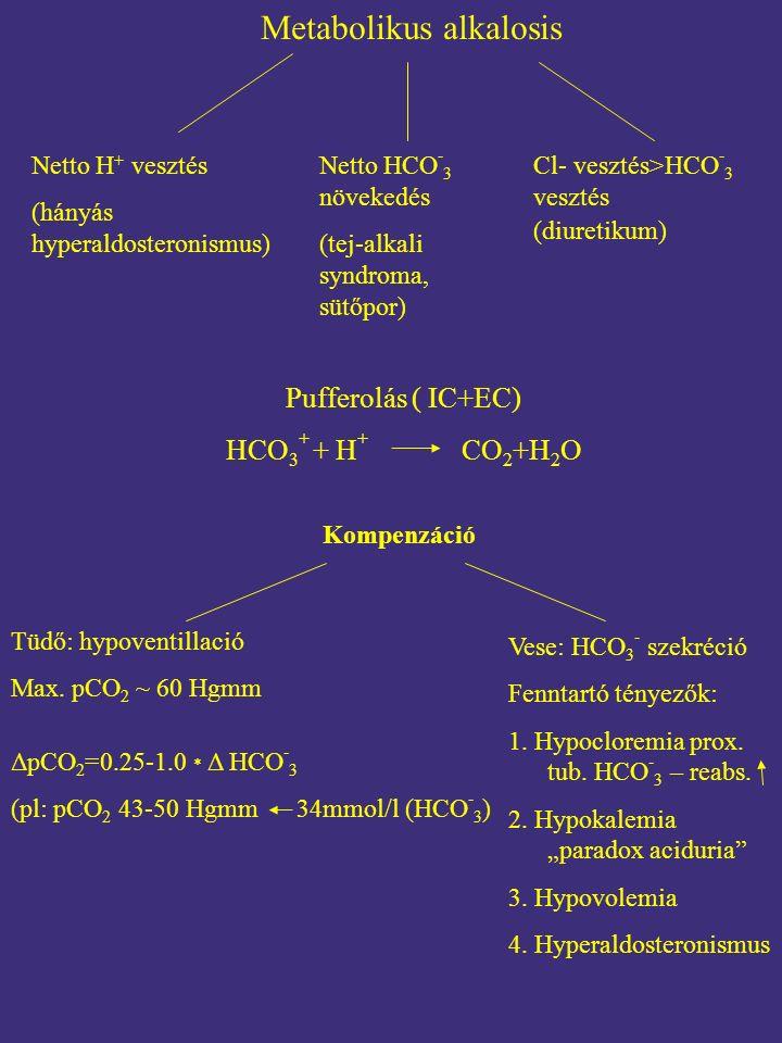 Metabolikus alkalosis Netto H + vesztés (hányás hyperaldosteronismus) Netto HCO - 3 növekedés (tej-alkali syndroma, sütőpor) Cl- vesztés>HCO - 3 vesztés (diuretikum) Pufferolás ( IC+EC) HCO 3 + + H + CO 2 +H 2 O Kompenzáció Tüdő: hypoventillació Max.