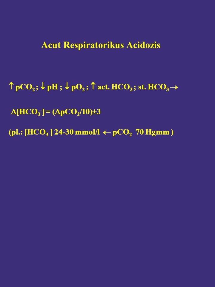  pCO 2 ;  pH ;  pO 2 ;  act. HCO 3 ; st. HCO 3   [HCO 3 - ] = (  pCO 2 /10)  3 (pl.: [HCO 3 - ] 24-30 mmol/l  pCO 2 70 Hgmm ) Acut Respirator