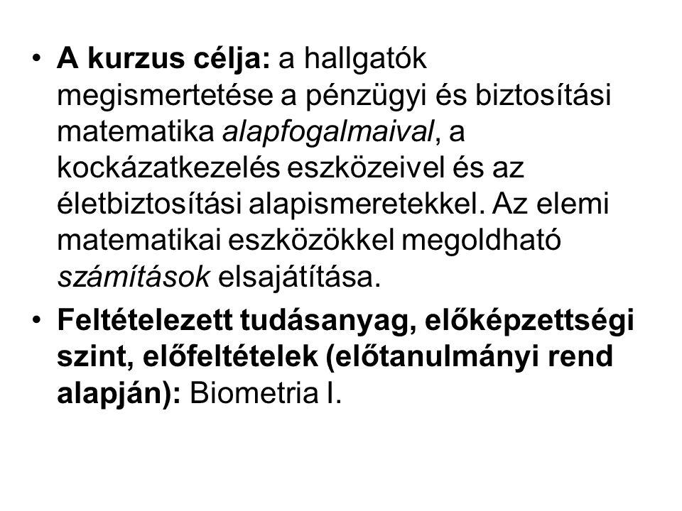 Kötelező irodalom: –Arató Miklós Nem-életbiztosítási matematika ELTE jegyzet, Budapest.