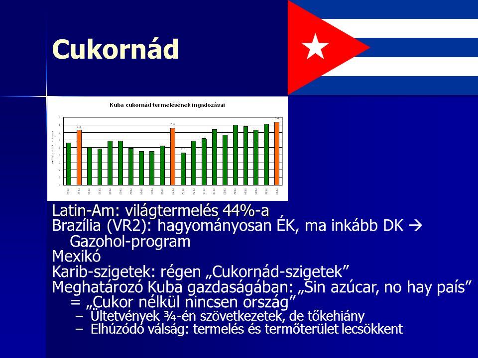 """Cukornád Latin-Am: világtermelés 44%-a Brazília (VR2): hagyományosan ÉK, ma inkább DK  Gazohol-program Mexikó Karib-szigetek: régen """"Cukornád-szigetek Meghatározó Kuba gazdaságában: """"Sin azúcar, no hay país = """"Cukor nélkül nincsen ország –Ültetvények ¾-én szövetkezetek, de tőkehiány –Elhúzódó válság: termelés és termőterület lecsökkent"""