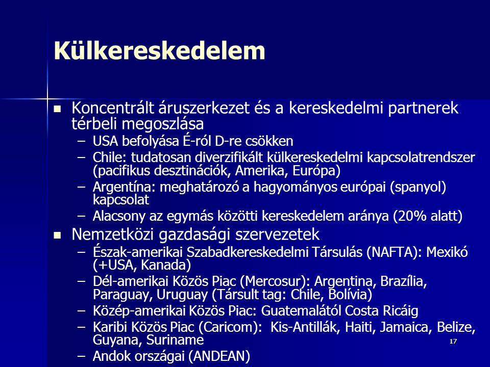 1717 Külkereskedelem Koncentrált áruszerkezet és a kereskedelmi partnerek térbeli megoszlása – –USA befolyása É-ról D-re csökken – –Chile: tudatosan diverzifikált külkereskedelmi kapcsolatrendszer (pacifikus desztinációk, Amerika, Európa) – –Argentína: meghatározó a hagyományos európai (spanyol) kapcsolat – –Alacsony az egymás közötti kereskedelem aránya (20% alatt) Nemzetközi gazdasági szervezetek – –Észak-amerikai Szabadkereskedelmi Társulás (NAFTA): Mexikó (+USA, Kanada) – –Dél-amerikai Közös Piac (Mercosur): Argentina, Brazília, Paraguay, Uruguay (Társult tag: Chile, Bolívia) – –Közép-amerikai Közös Piac: Guatemalától Costa Ricáig – –Karibi Közös Piac (Caricom): Kis-Antillák, Haiti, Jamaica, Belize, Guyana, Suriname – –Andok országai (ANDEAN)