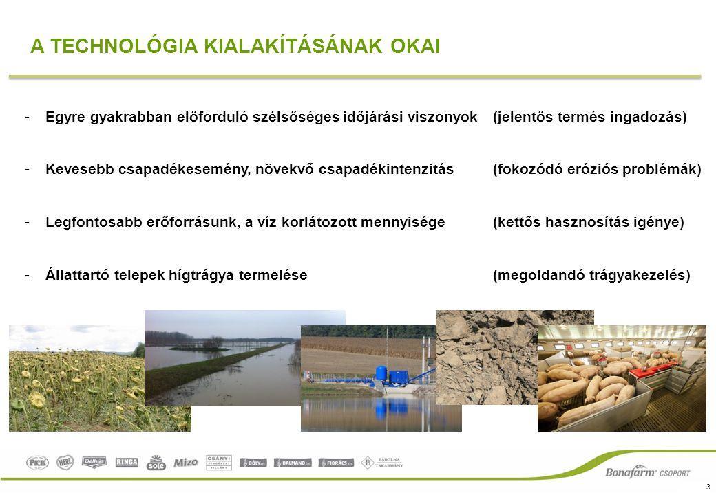 3 A TECHNOLÓGIA KIALAKÍTÁSÁNAK OKAI -Egyre gyakrabban előforduló szélsőséges időjárási viszonyok (jelentős termés ingadozás) -Kevesebb csapadékesemény, növekvő csapadékintenzitás (fokozódó eróziós problémák) -Legfontosabb erőforrásunk, a víz korlátozott mennyisége(kettős hasznosítás igénye) -Állattartó telepek hígtrágya termelése(megoldandó trágyakezelés)