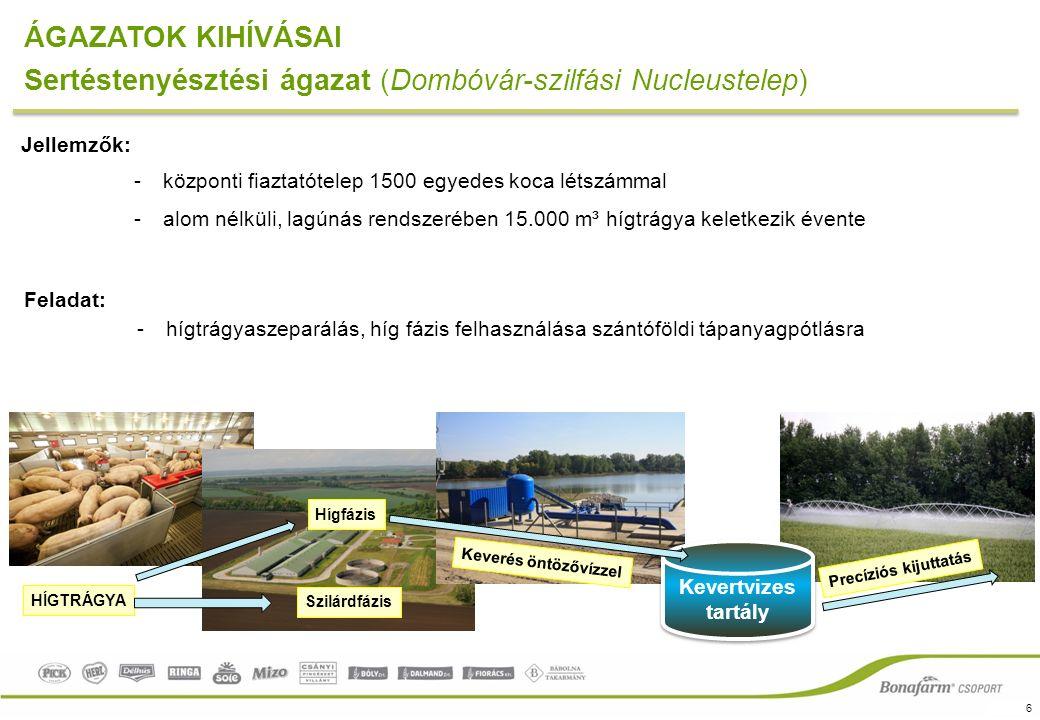 6 ÁGAZATOK KIHÍVÁSAI Sertéstenyésztési ágazat (Dombóvár-szilfási Nucleustelep) Jellemzők: -központi fiaztatótelep 1500 egyedes koca létszámmal -alom nélküli, lagúnás rendszerében 15.000 m³ hígtrágya keletkezik évente Feladat: -hígtrágyaszeparálás, híg fázis felhasználása szántóföldi tápanyagpótlásra Kevertvizes tartály HÍGTRÁGYA Hígfázis Szilárdfázis Keverés öntözővízzel Precíziós kijuttatás