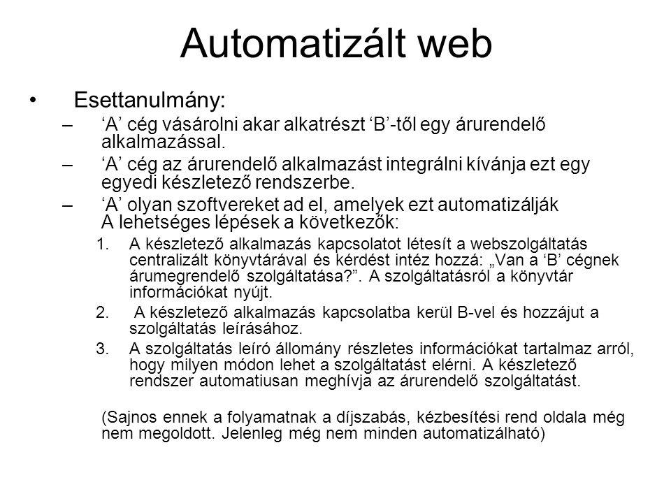 Automatizált web Esettanulmány: –'A' cég vásárolni akar alkatrészt 'B'-től egy árurendelő alkalmazással. –'A' cég az árurendelő alkalmazást integrálni
