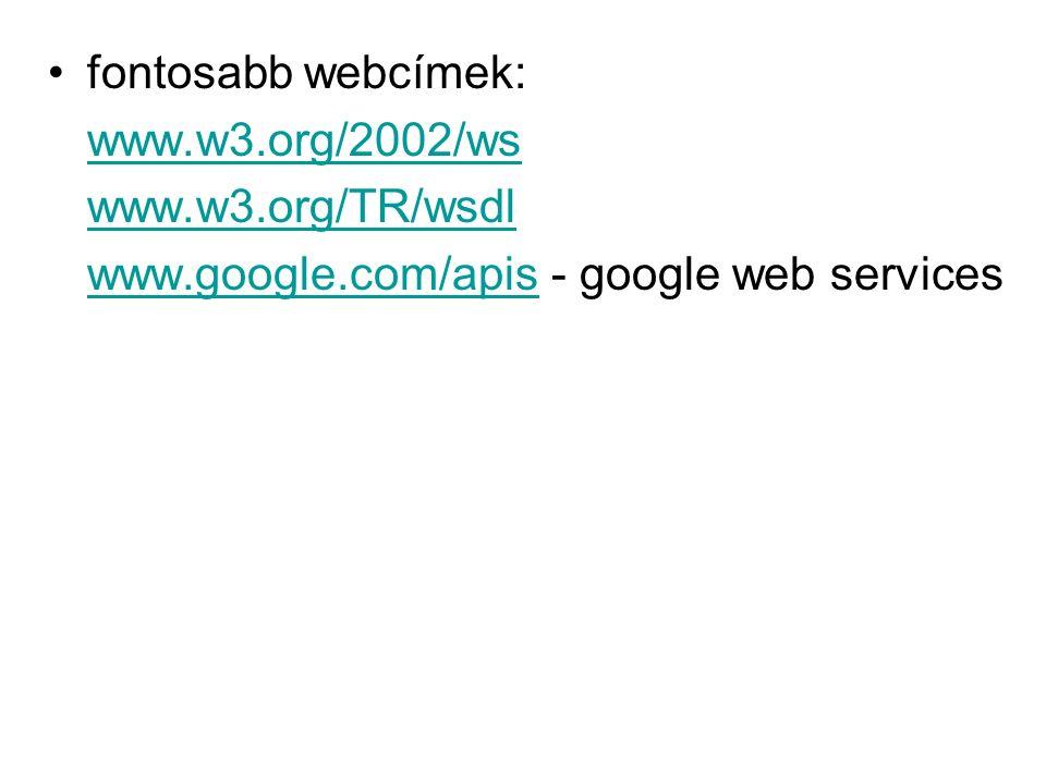 fontosabb webcímek: www.w3.org/2002/ws www.w3.org/TR/wsdl www.google.com/apiswww.google.com/apis - google web services