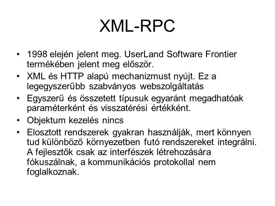 XML-RPC 1998 elején jelent meg. UserLand Software Frontier termékében jelent meg először. XML és HTTP alapú mechanizmust nyújt. Ez a legegyszerűbb sza