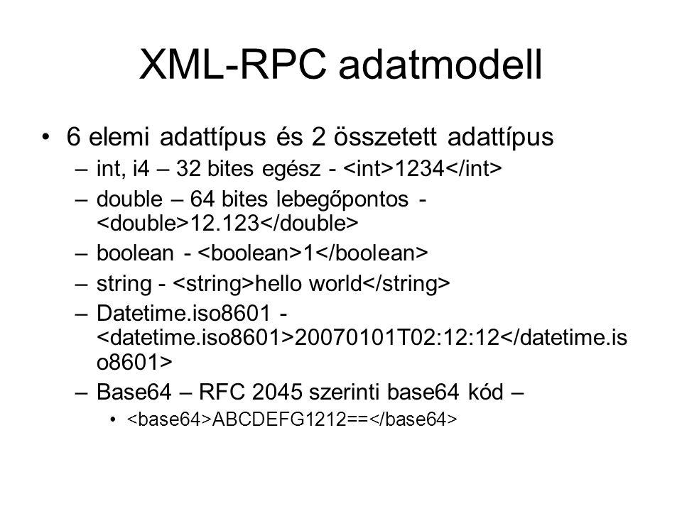 XML-RPC adatmodell 6 elemi adattípus és 2 összetett adattípus –int, i4 – 32 bites egész - 1234 –double – 64 bites lebegőpontos - 12.123 –boolean - 1 –