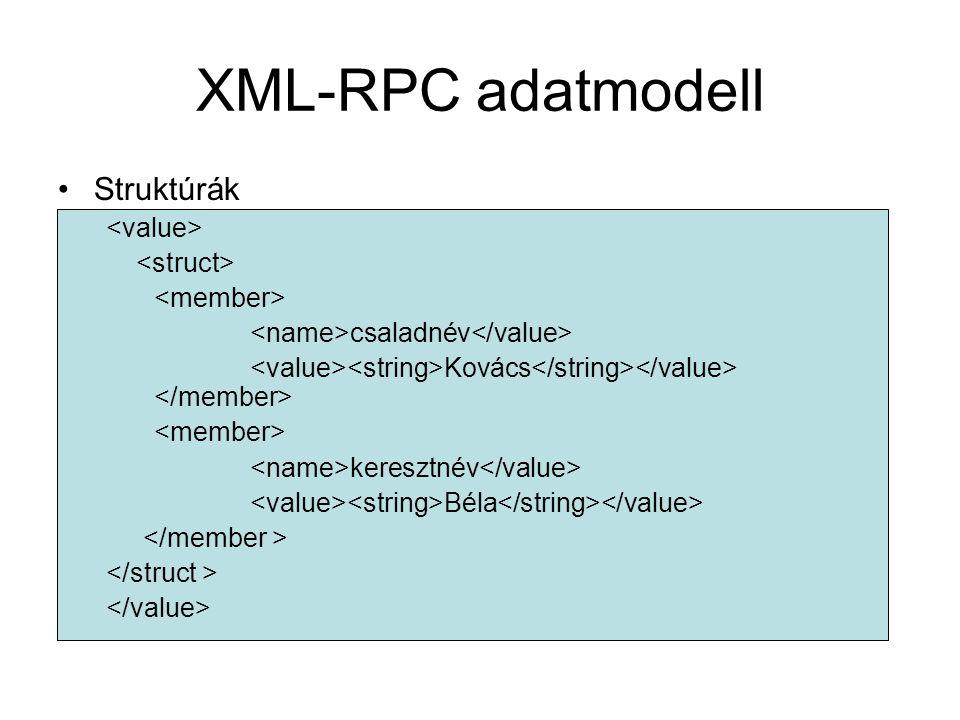 XML-RPC adatmodell Struktúrák csaladnév Kovács keresztnév Béla