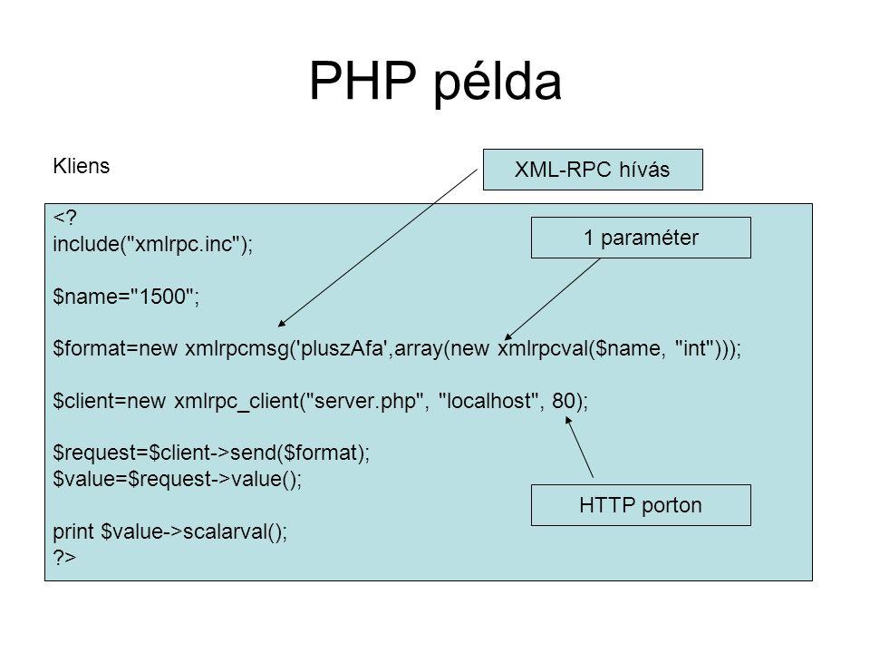 PHP példa Kliens <? include(