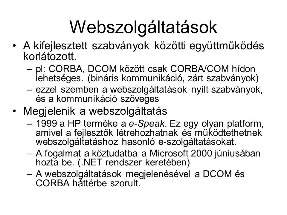 Webszolgáltatások A kifejlesztett szabványok közötti együttműködés korlátozott. –pl: CORBA, DCOM között csak CORBA/COM hídon lehetséges. (bináris komm
