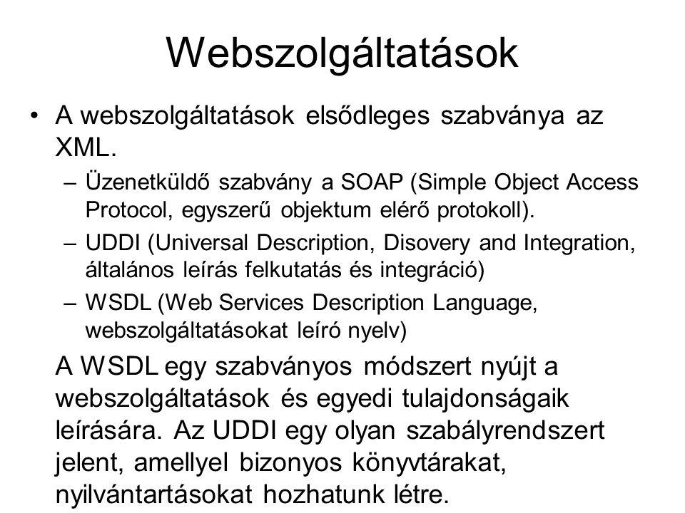 XML-RPC adatmodell 6 elemi adattípus és 2 összetett adattípus –int, i4 – 32 bites egész - 1234 –double – 64 bites lebegőpontos - 12.123 –boolean - 1 –string - hello world –Datetime.iso8601 - 20070101T02:12:12 –Base64 – RFC 2045 szerinti base64 kód – ABCDEFG1212==