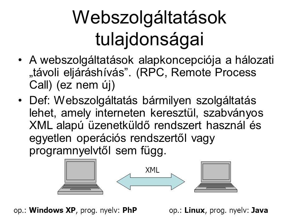 Webszolgáltatások tulajdonságai További nem kötelező tulajdonságok: –A webszolgáltatás leírható: egy szolgáltatáshoz tartozik egy interface, és létezik egy ember számára is olvasható leírása.