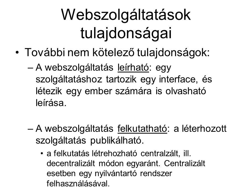 Webszolgáltatások tulajdonságai További nem kötelező tulajdonságok: –A webszolgáltatás leírható: egy szolgáltatáshoz tartozik egy interface, és létezi