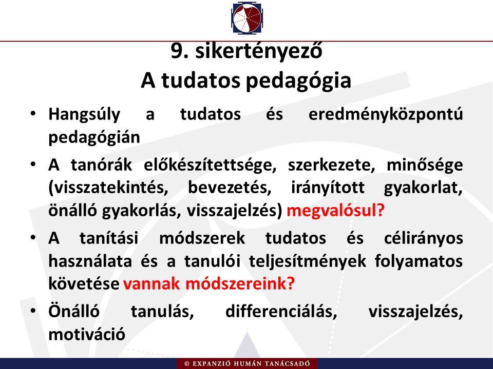 9. sikertényező A tudatos pedagógia Hangsúly a tudatos és eredményközpontú pedagógián A tanórák előkészítettsége, szerkezete, minősége (visszatekintés