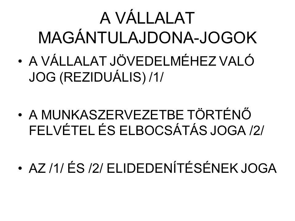 A VÁLLALAT MAGÁNTULAJDONA-JOGOK A VÁLLALAT JÖVEDELMÉHEZ VALÓ JOG (REZIDUÁLIS) /1/ A MUNKASZERVEZETBE TÖRTÉNŐ FELVÉTEL ÉS ELBOCSÁTÁS JOGA /2/ AZ /1/ ÉS /2/ ELIDEDENÍTÉSÉNEK JOGA