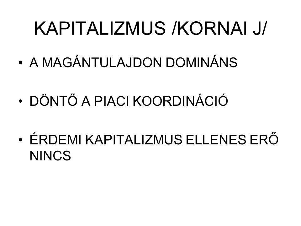 KAPITALIZMUS /KORNAI J/ A MAGÁNTULAJDON DOMINÁNS DÖNTŐ A PIACI KOORDINÁCIÓ ÉRDEMI KAPITALIZMUS ELLENES ERŐ NINCS