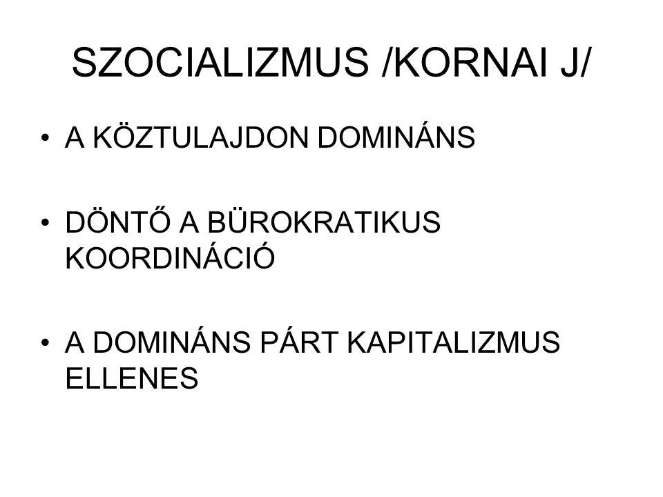 SZOCIALIZMUS /KORNAI J/ A KÖZTULAJDON DOMINÁNS DÖNTŐ A BÜROKRATIKUS KOORDINÁCIÓ A DOMINÁNS PÁRT KAPITALIZMUS ELLENES