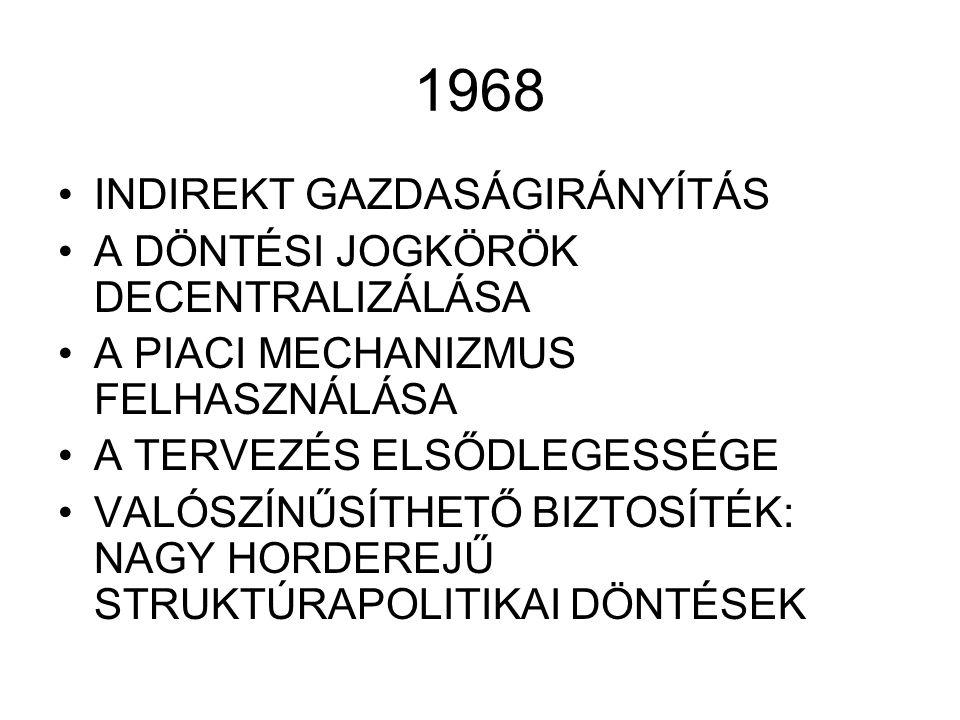 1968 INDIREKT GAZDASÁGIRÁNYÍTÁS A DÖNTÉSI JOGKÖRÖK DECENTRALIZÁLÁSA A PIACI MECHANIZMUS FELHASZNÁLÁSA A TERVEZÉS ELSŐDLEGESSÉGE VALÓSZÍNŰSÍTHETŐ BIZTOSÍTÉK: NAGY HORDEREJŰ STRUKTÚRAPOLITIKAI DÖNTÉSEK