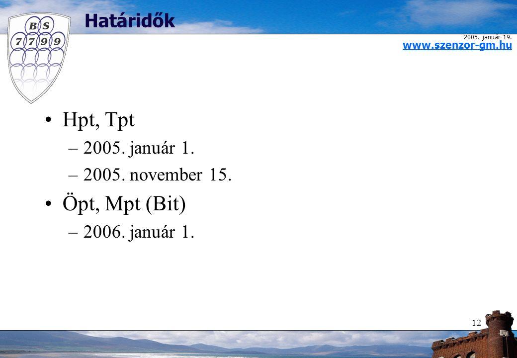 2005. január 19. www.szenzor-gm.hu 12 Határidők Hpt, Tpt –2005.