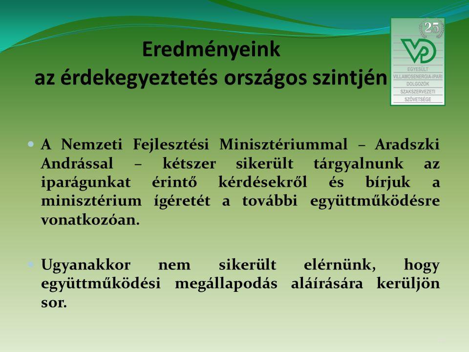 Eredményeink az érdekegyeztetés országos szintjén A Nemzeti Fejlesztési Minisztériummal – Aradszki Andrással – kétszer sikerült tárgyalnunk az iparágunkat érintő kérdésekről és bírjuk a minisztérium ígéretét a további együttműködésre vonatkozóan.