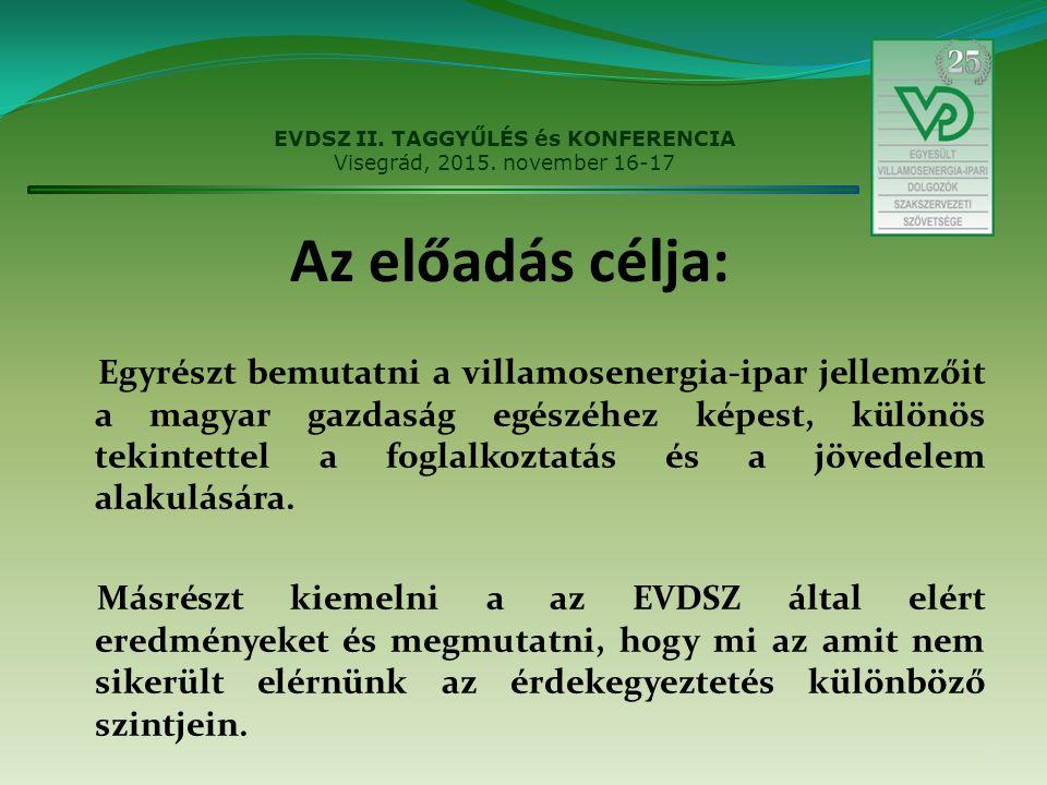 Az előadás célja: Egyrészt bemutatni a villamosenergia-ipar jellemzőit a magyar gazdaság egészéhez képest, különös tekintettel a foglalkoztatás és a jövedelem alakulására.