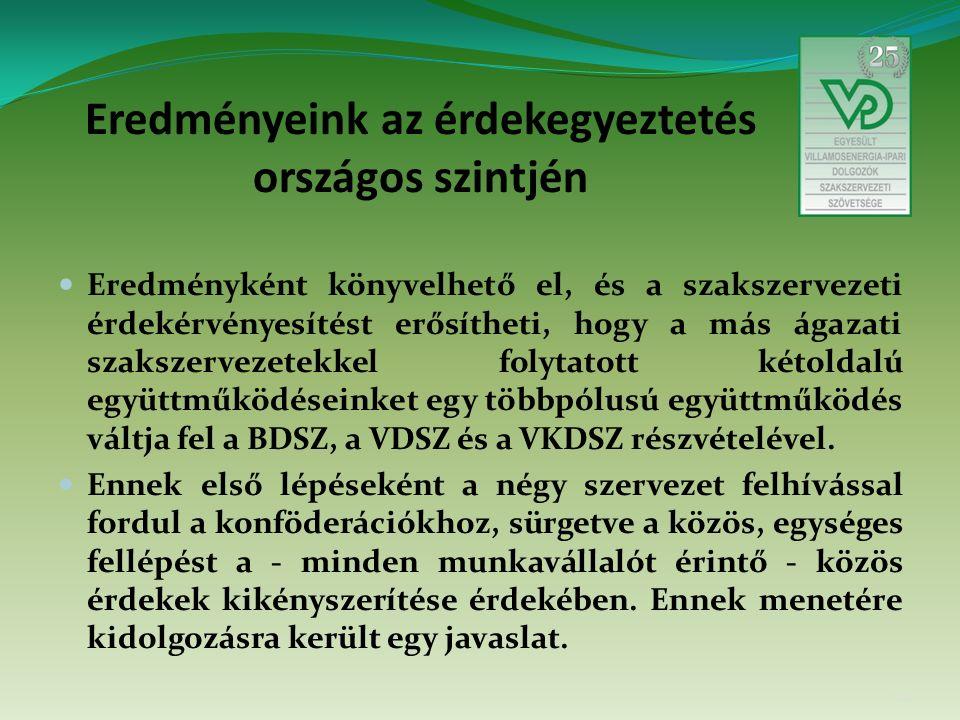 Eredményeink az érdekegyeztetés országos szintjén Eredményként könyvelhető el, és a szakszervezeti érdekérvényesítést erősítheti, hogy a más ágazati szakszervezetekkel folytatott kétoldalú együttműködéseinket egy többpólusú együttműködés váltja fel a BDSZ, a VDSZ és a VKDSZ részvételével.