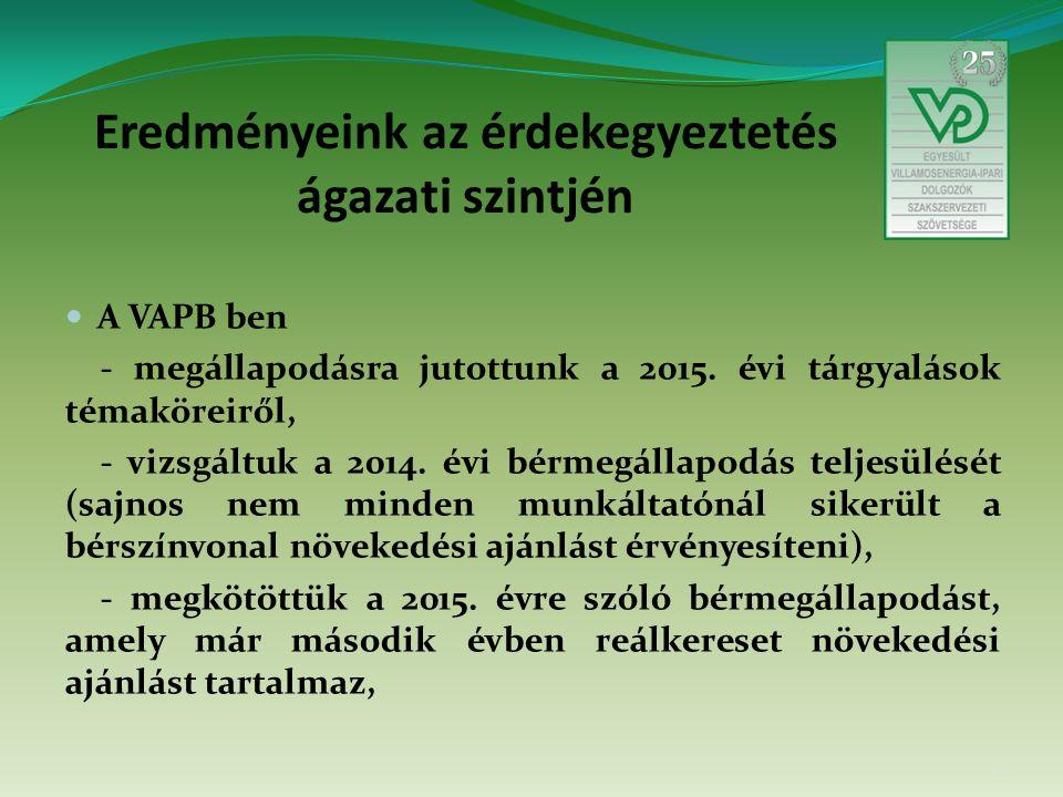 Eredményeink az érdekegyeztetés ágazati szintjén A VAPB ben - megállapodásra jutottunk a 2015.