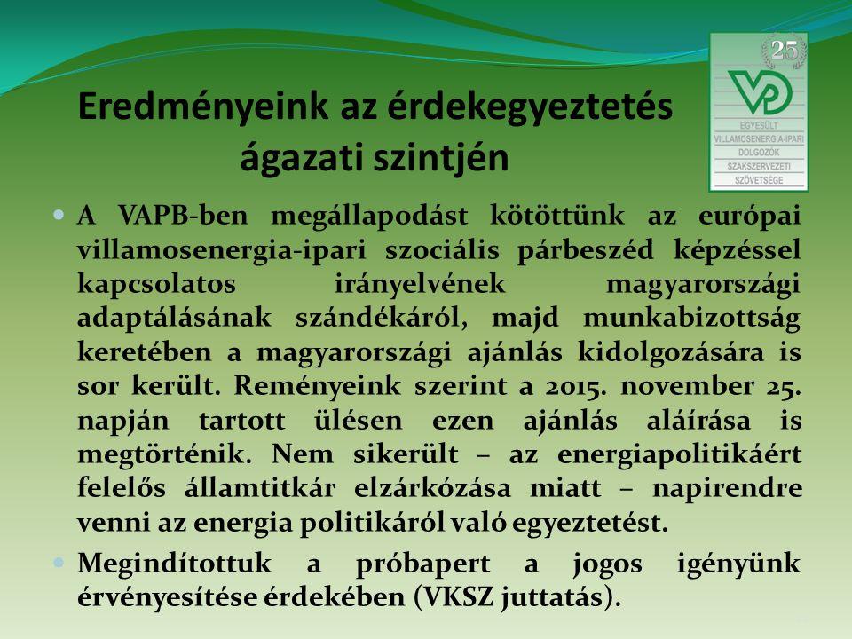 Eredményeink az érdekegyeztetés ágazati szintjén A VAPB-ben megállapodást kötöttünk az európai villamosenergia-ipari szociális párbeszéd képzéssel kapcsolatos irányelvének magyarországi adaptálásának szándékáról, majd munkabizottság keretében a magyarországi ajánlás kidolgozására is sor került.