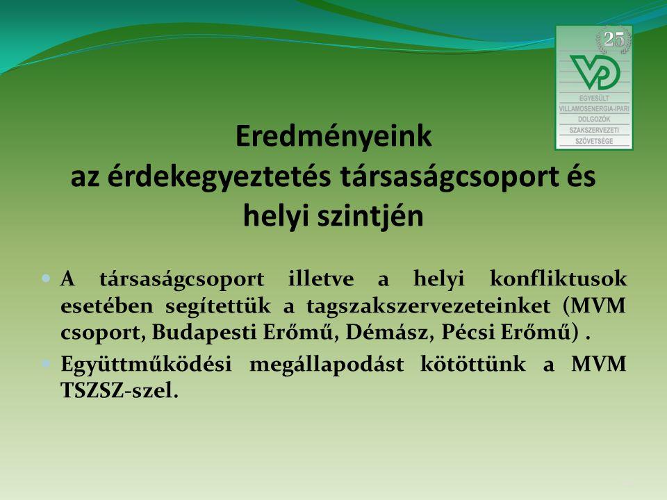 Eredményeink az érdekegyeztetés társaságcsoport és helyi szintjén A társaságcsoport illetve a helyi konfliktusok esetében segítettük a tagszakszervezeteinket (MVM csoport, Budapesti Erőmű, Démász, Pécsi Erőmű).