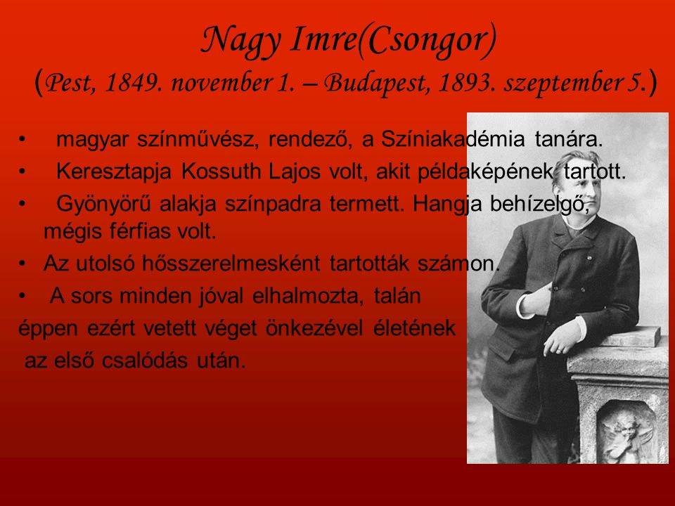Nagy Imre(Csongor) ( Pest, 1849. november 1. – Budapest, 1893.