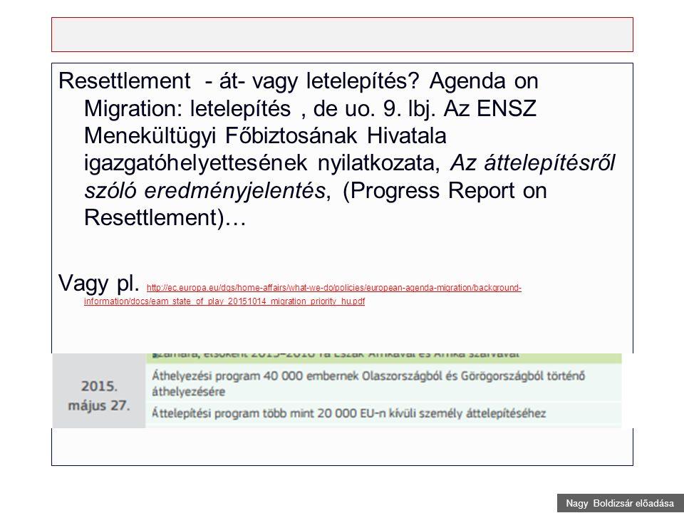 Nagy Boldizsár előadása Hotspots helyszíni operációs támogatást biztosító Hotspot rendszer (Európai Migrációs Stratégia) migrációs csomópontok (Javaslat az Európai Határ- és Parti Őrségről.