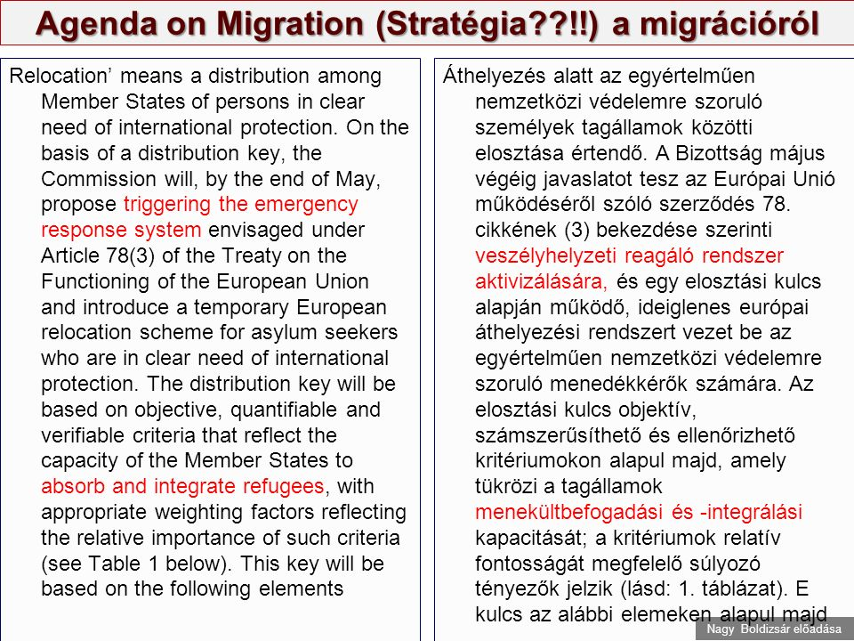 Nagy Boldizsár előadása Agenda on Migration (Stratégia??!!) a migrációról 'Resettlement' means the transfer of individual displaced persons in clear need of international protection, on submission of the United Nations High Commissioner for Refugees and in agreement with the country of resettlement, from a third country to a Member State, where they will be admitted and granted the right to stay and any other rights comparable to those granted to a beneficiary of international protection.