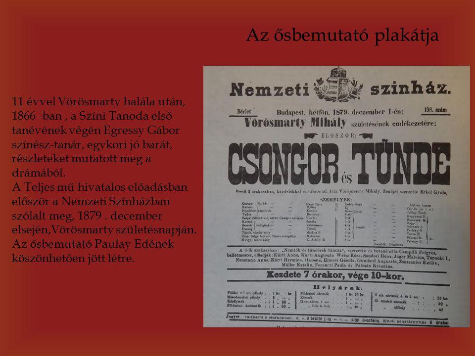 11 évvel Vörösmarty halála után, 1866 -ban, a Színi Tanoda első tanévének végén Egressy Gábor színész-tanár, egykori jó barát, részleteket mutatott meg a drámából.