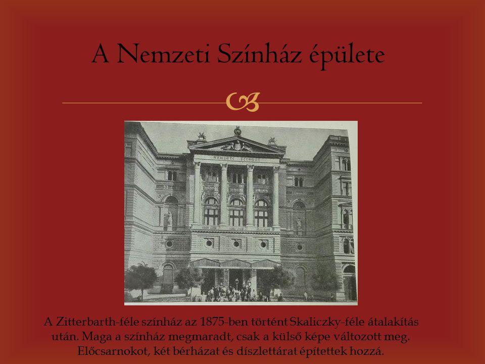  A Nemzeti Színház épülete A Zitterbarth-féle színház az 1875-ben történt Skaliczky-féle átalakítás után.