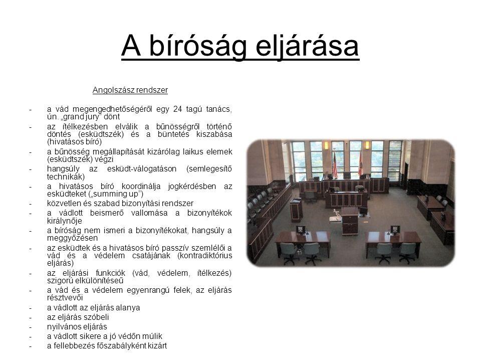 A bíróság eljárása Angolszász rendszer -a vád megengedhetőségéről egy 24 tagú tanács, ún.
