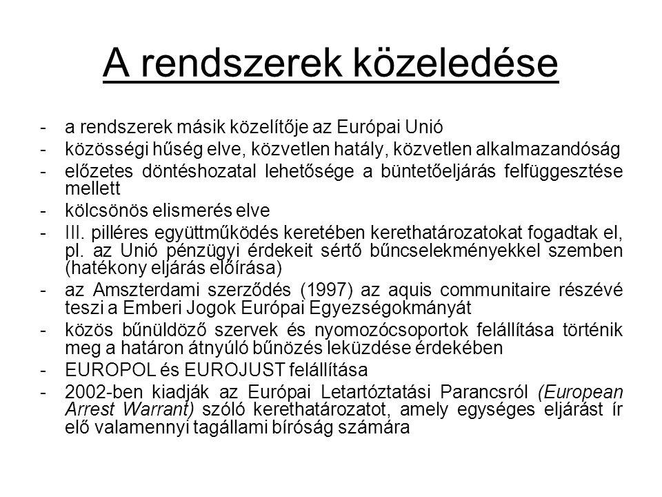A rendszerek közeledése -a rendszerek másik közelítője az Európai Unió -közösségi hűség elve, közvetlen hatály, közvetlen alkalmazandóság -előzetes döntéshozatal lehetősége a büntetőeljárás felfüggesztése mellett -kölcsönös elismerés elve -III.