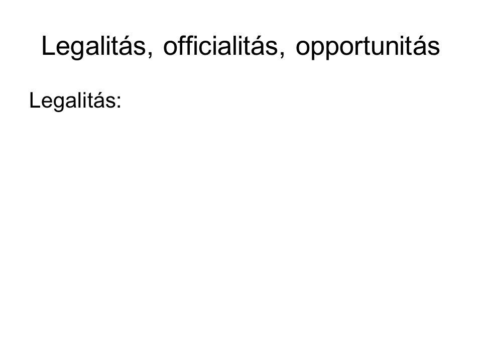 Legalitás, officialitás, opportunitás Legalitás: