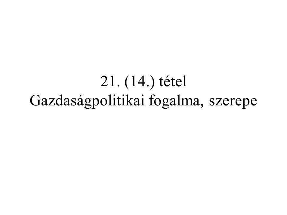 21. (14.) tétel Gazdaságpolitikai fogalma, szerepe