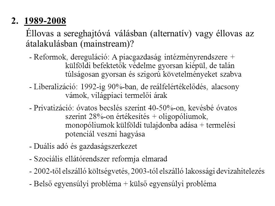 2. 1989-2008 – Éllovas a sereghajtóvá válásban (alternatív) vagy éllovas az átalakulásban (mainstream)? - Reformok, dereguláció: A piacgazdaság intézm
