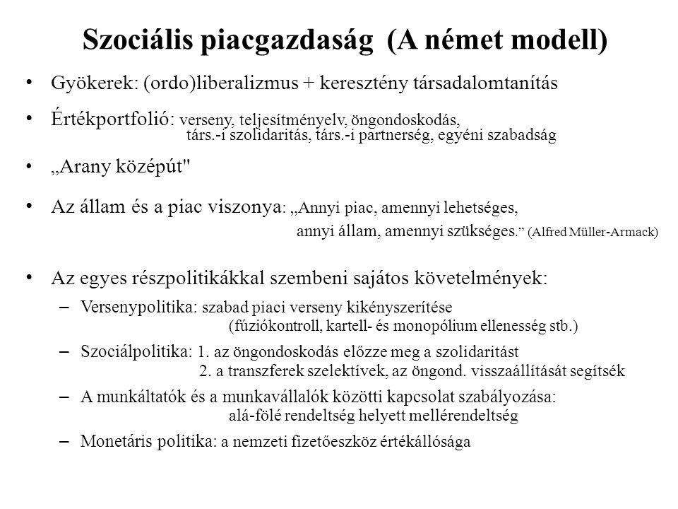 """Szociális piacgazdaság (A német modell) Gyökerek: (ordo)liberalizmus + keresztény társadalomtanítás Értékportfolió: verseny, teljesítményelv, öngondoskodás, társ.-i szolidaritás, társ.-i partnerség, egyéni szabadság """" Arany középút Az állam és a piac viszonya : """"Annyi piac, amennyi lehetséges, annyi állam, amennyi szükséges. (Alfred Müller-Armack) Az egyes részpolitikákkal szembeni sajátos követelmények: – Versenypolitika: szabad piaci verseny kikényszerítése (fúziókontroll, kartell- és monopólium ellenesség stb.) – Szociálpolitika: 1."""