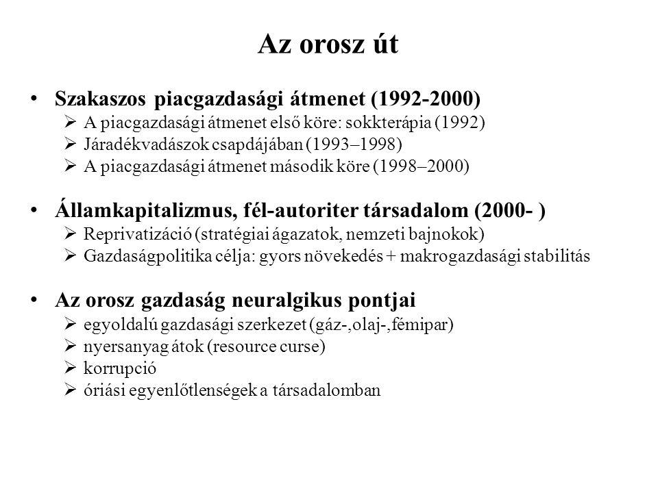 Az Az orosz út út Szakaszos piacgazdasági átmenet (1992-2000)  A piacgazdasági átmenet első köre: sokkterápia (1992)  Járadékvadászok csapdájában (1993–1998)  A piacgazdasági átmenet második köre (1998–2000) Államkapitalizmus, fél-autoriter társadalom (2000- )  Reprivatizáció (stratégiai ágazatok, nemzeti bajnokok)  Gazdaságpolitika célja: gyors növekedés + makrogazdasági stabilitás Az orosz gazdaság neuralgikus pontjai  egyoldalú gazdasági szerkezet (gáz-,olaj-,fémipar)  nyersanyag átok (resource curse)  korrupció  óriási egyenlőtlenségek a társadalomban