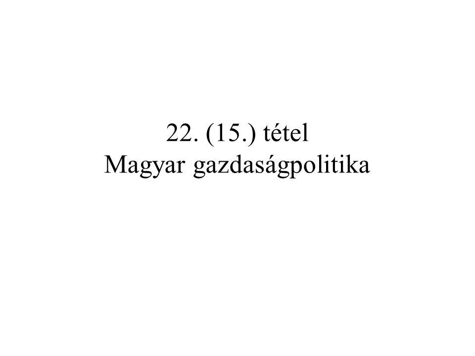 22. (15.) tétel Magyar gazdaságpolitika