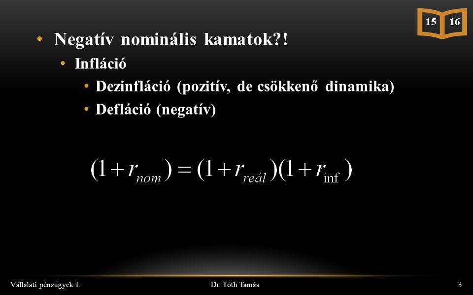 Dr. Tóth Tamás Vállalati pénzügyek I.3 15 16 Negatív nominális kamatok?! Infláció Dezinfláció (pozitív, de csökkenő dinamika) Defláció (negatív)