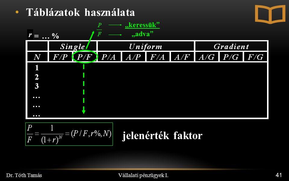 """Vállalati pénzügyek I. Dr. Tóth Tamás 41 r Táblázatok használata """"keressük"""" """"adva"""" jelenérték faktor"""