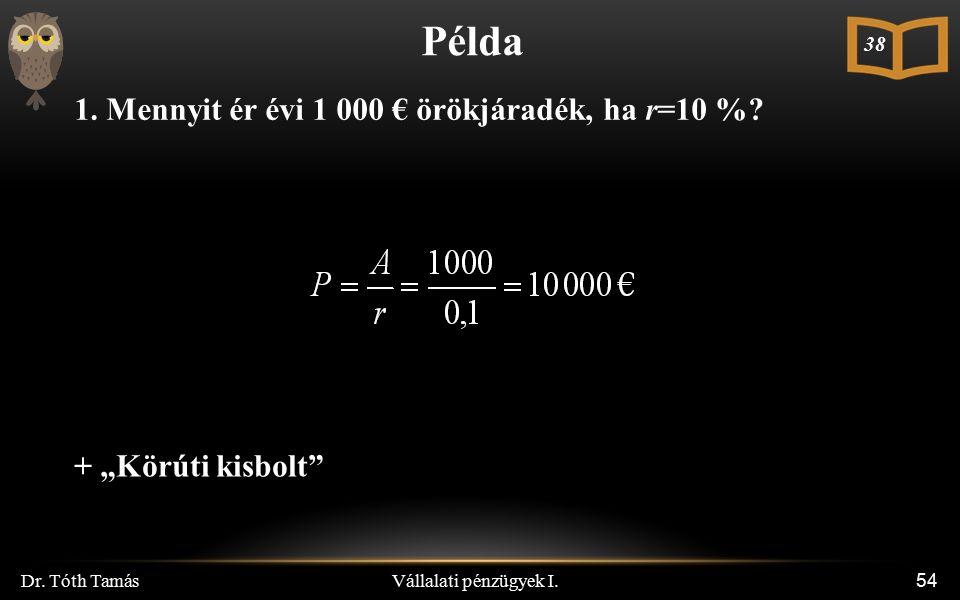 """Vállalati pénzügyek I. Dr. Tóth Tamás 54 Példa 1. Mennyit ér évi 1 000 € örökjáradék, ha r=10 %? 38 + """"Körúti kisbolt"""""""