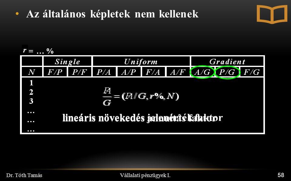 Vállalati pénzügyek I. Dr. Tóth Tamás 58 r Az általános képletek nem kellenek lineáris növekedés jelenérték faktor lineáris növekedés annuitás faktor