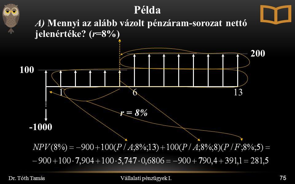 Vállalati pénzügyek I. Dr. Tóth Tamás 75 Példa A) Mennyi az alább vázolt pénzáram-sorozat nettó jelenértéke? (r=8%) 200 100 r = 8% 1613 -1000